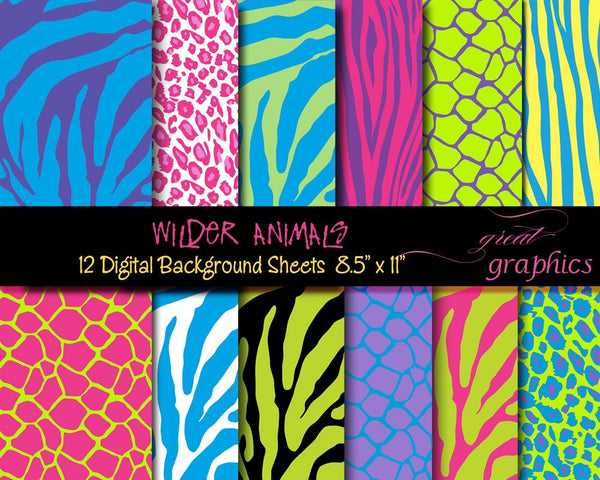 Animal Print Paper Digital Paper Zebra Print Leopard Print Giraffe Print Printable Party Paper - Instant Download