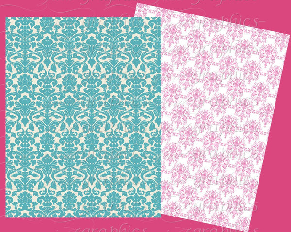Beautiful Damask Backgrounds, Set 2, printable damask background sheets, damask papers, 8.5 x 11 sheets, set of 8 digital papers