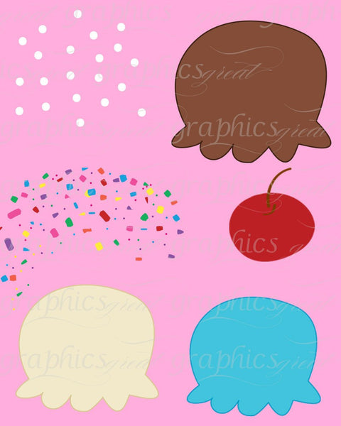 Ice Cream Clip Art, Digital Clip Art, Ice Cream Clipart,  Digital Clipart, Invitation Clipart, Party Clipart, Instant Download