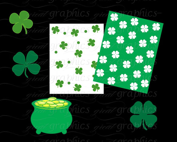 St Patricks Clipart, St Patricks Day Digital Paper, St Patricks Clip Art, Saint Patricks Day,Shamrock Clipart, Instant Download