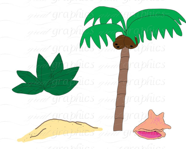 Surfer Girl Digital Clip Art Surfboard Clipart Palm Tree Digital Paper Kid Party Paper Instant Download