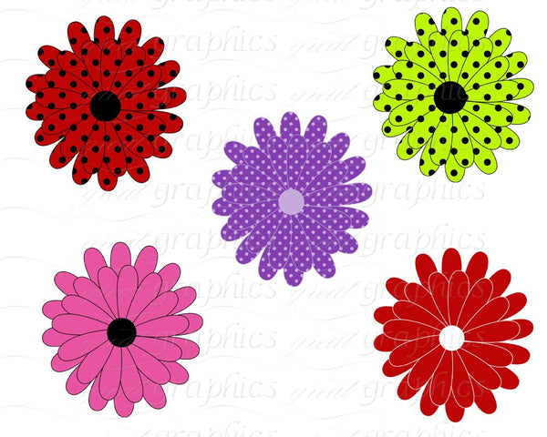 Flower Digital Clip Art Flower Clipart Printable Daisy Clipart Digital Clipart Flowers Scrapbooking - Instant Download