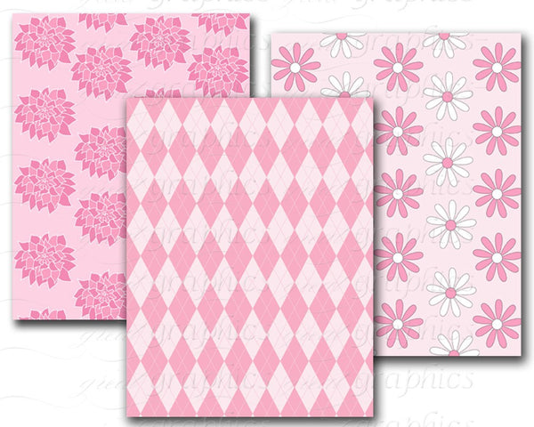 Pink Paper Digital Paper Pink Zebra Printable Party Paper Pink Chevron Polka Dot Invitation Paper Instant Download
