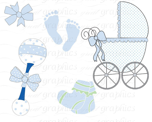 Baby Digital Clip Art Digital Baby Clipart Baby Footprint Baby Rattle Baby Carriage Clipart Printable - Instant Download