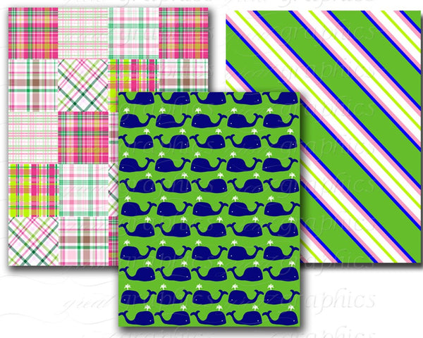 Preppy Paper Digital Paper Preppy Whale Madras Plaid Preppy Alligator Printable Paper Pink and Green Digital Download - Instant Download