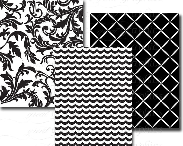 Black and White Digital Paper Black and White Stripe Printable Invitation Paper Scrapbook Paper Printable Paper - Instant Download