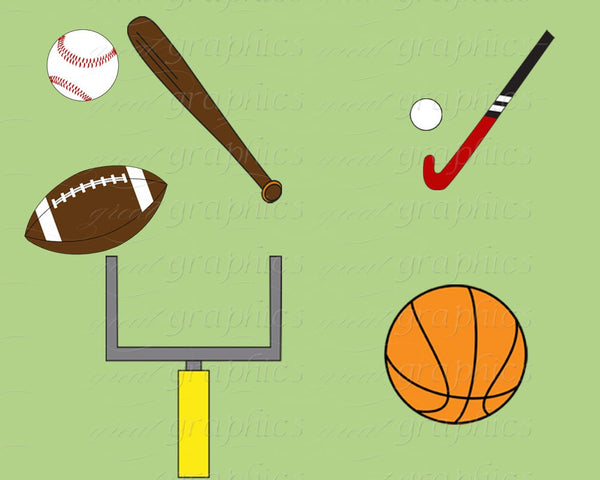 Sports Clipart, Sports Clip Art, Digital Clip Art, Digital Clipart, Football, Baseball, Basketball, Soccer, Instant Dowload