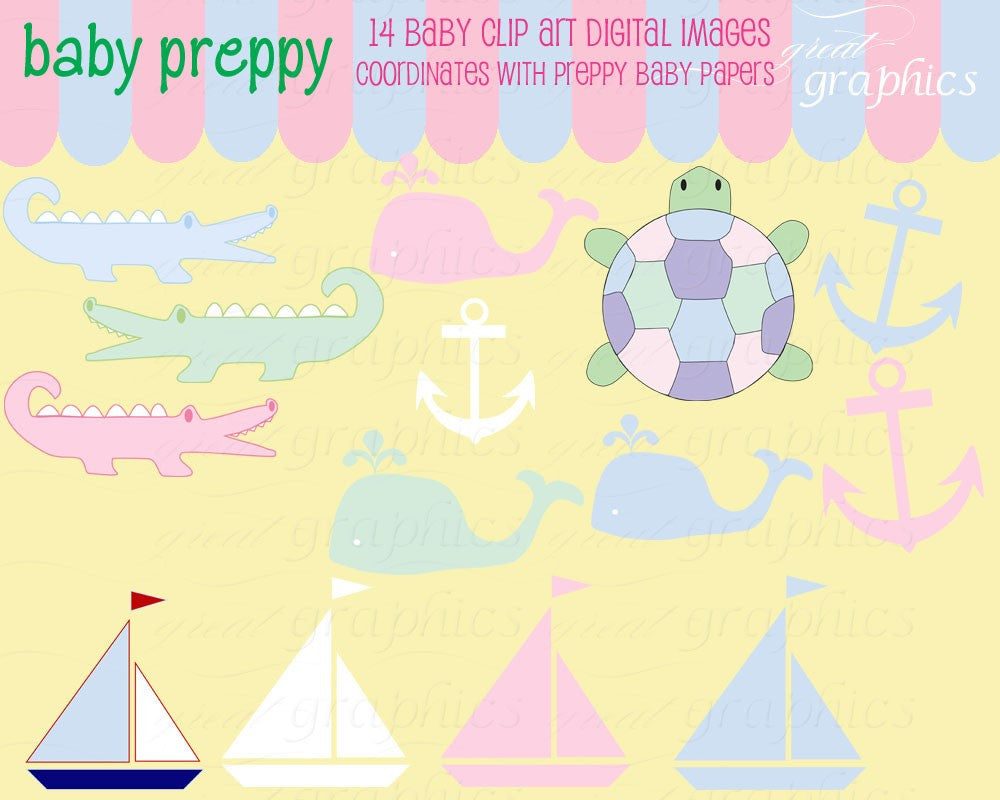 Baby Preppy Clip Art Preppy Clipart Digital Clipart Preppy Alligator Whale Baby Shower Clipart Instant Download