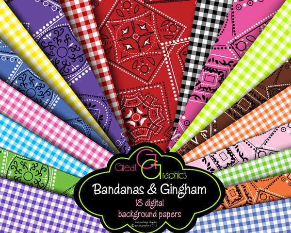 Bandana Digital Paper Bandana Pattern Bandana Paper Gingham Digital Paper Bandana Print Digital Paper - Instant Download