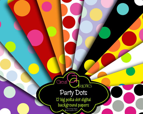 Polka Dot Paper Party Printable Paper Polka Dot Printables Digital Paper Invitation Printable Paper Polka Dots - Instant Download