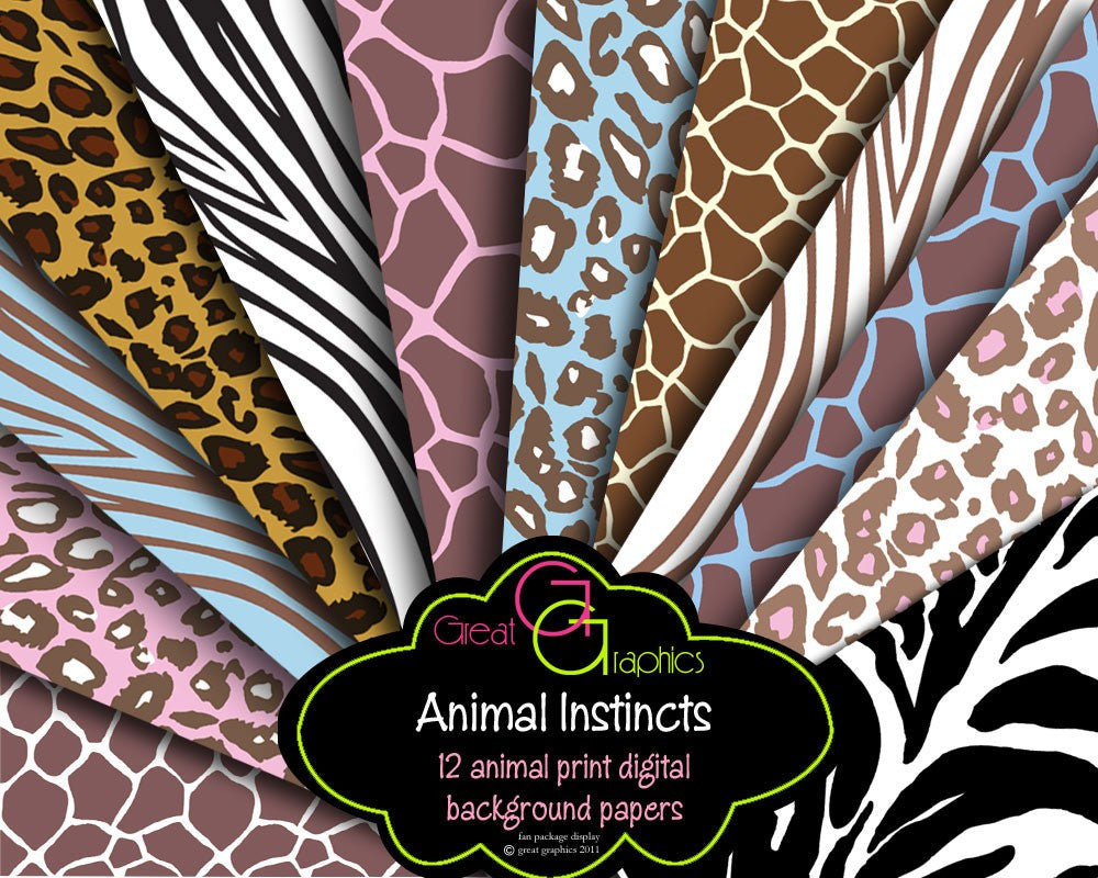 Animal Print Paper Zebra Leopard Print Digital Paper - Instant Download