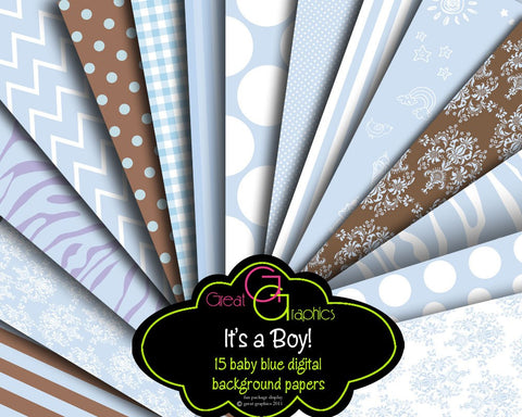 Baby Boy Digital Paper Baby Shower Printable Invitation Digital Paper Baby Blue Invitation Paper - Instant Download