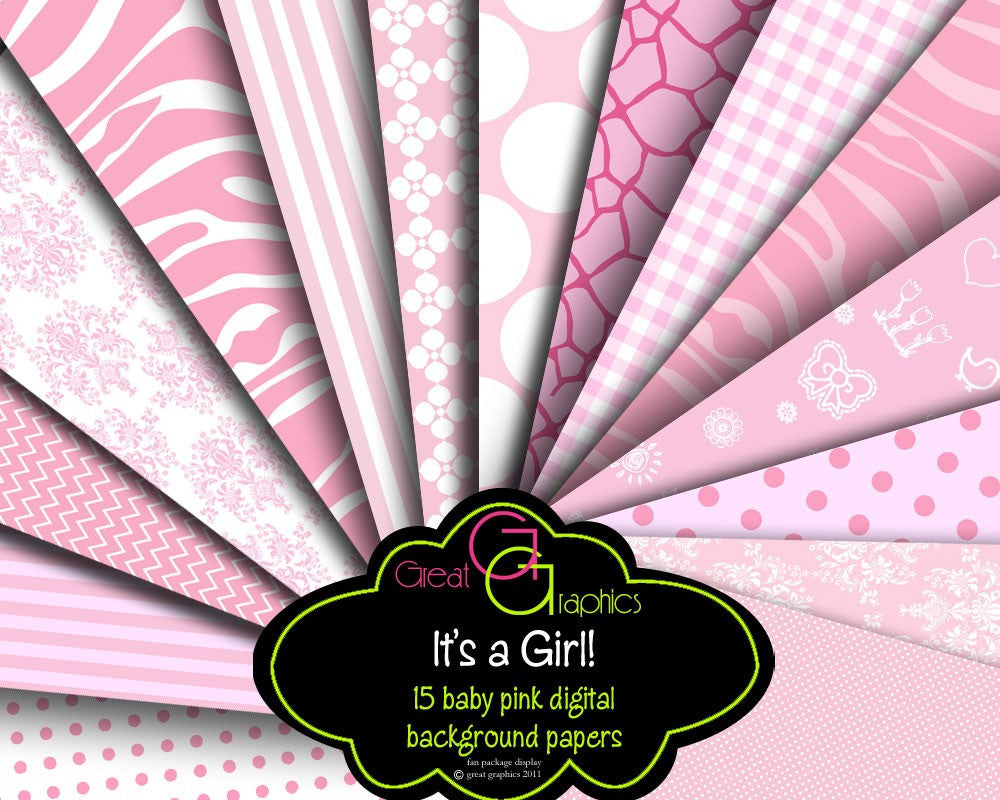 Pink Paper Digital Paper Baby Girl Printable Baby Shower Paper Pastel Pink Digital Paper Party Paper - Instant Download