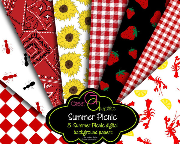 Summer Party Digital Paper Printable Party Paper Sunflower Crawfish Strawberry Picnic Digital Invitation Paper - Instant Download