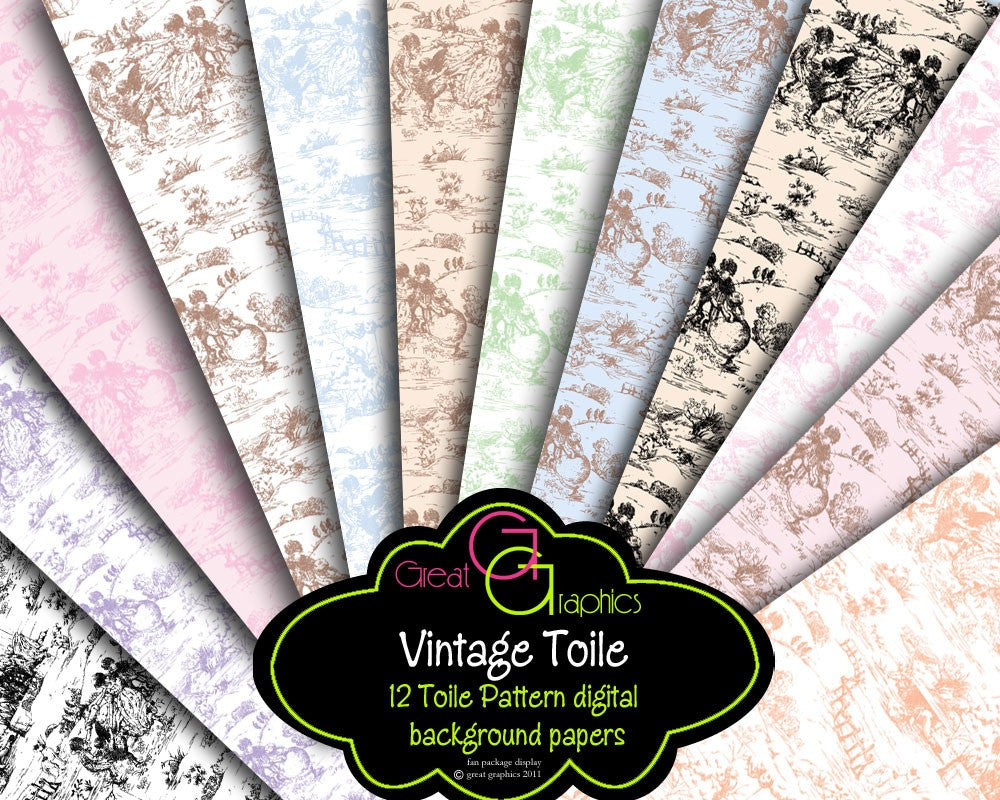 Toile Paper Toile Digital Paper Baby Shower Paper Toile Print Printable Background Invitation Paper, Instant Download