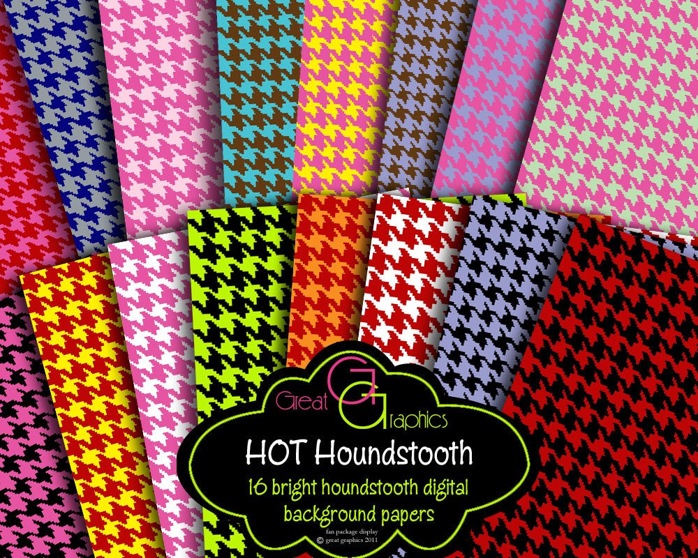 Houndstooth Paper Houndstooth Digital Paper Houndstooth Pattern Digital Paper Invitation Paper Scrapbook Paper - Instant Download