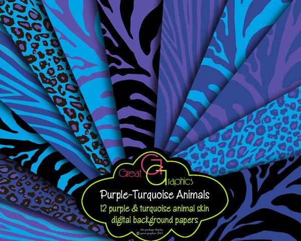Purple and Turquoise Animal Print Paper Purple Zebra Turquoise Zebra Paper  Zebra Print Digital Paper Leopard Print - Instant Download
