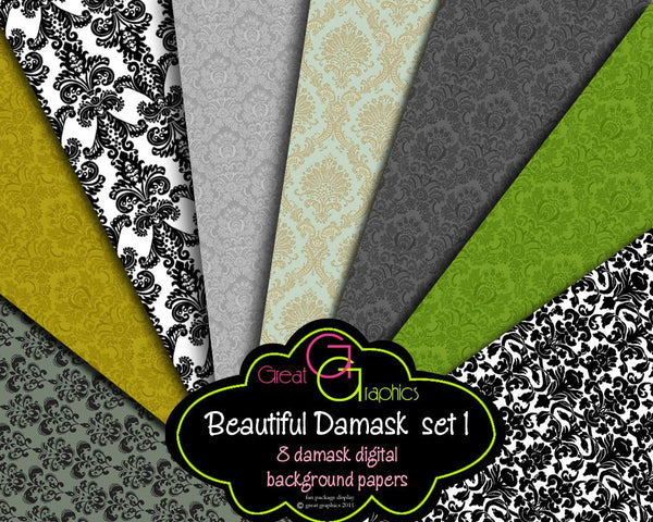 Damask Digital Backgrounds -set 1, damask printable backgrounds, damask digital paper, damask pattern paper