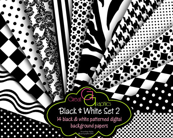 Black and White Digital Paper Printable Black and White Harlequin Houndstooth Damask Background Instant Download