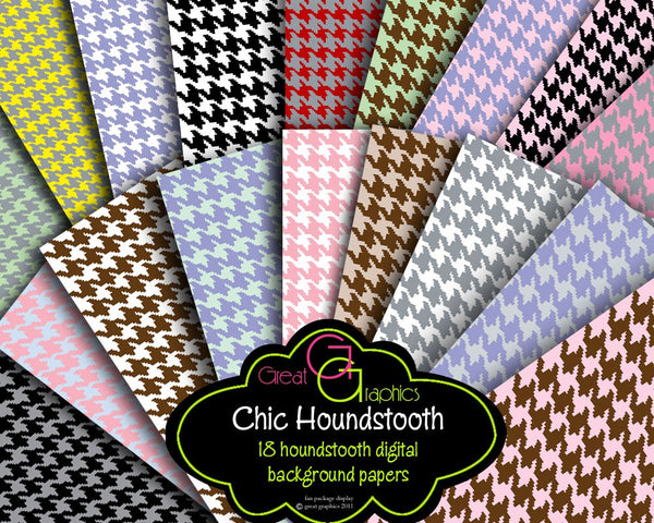 Houndstooth Paper Houndstooth Digital Paper Houndstooth Pattern Printable Paper - Instant Download