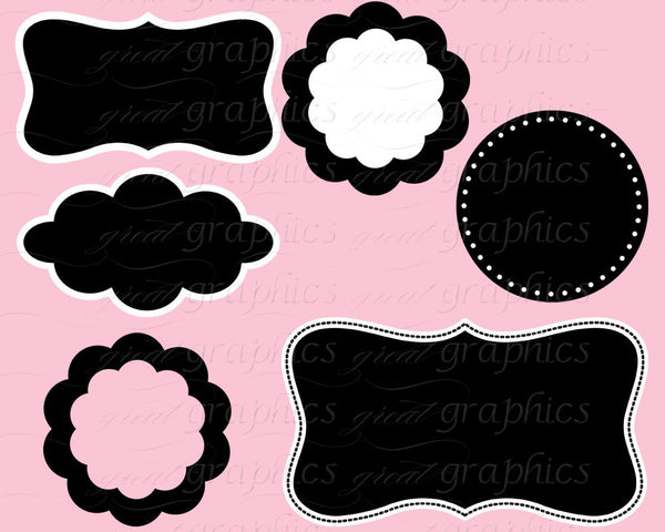 Clip Art Frame Digital Frame Clip Art Circle Frame Scallop Frame Printable Frame Invitation Clipart - Instant Download