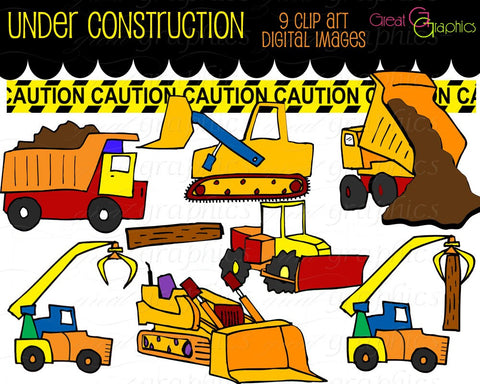 Construction Clipart Truck Clip Art Kids Digital Clip Art Construction Clipart Caution Tape Dumptruck Boy Party Clipart -  Instant Download