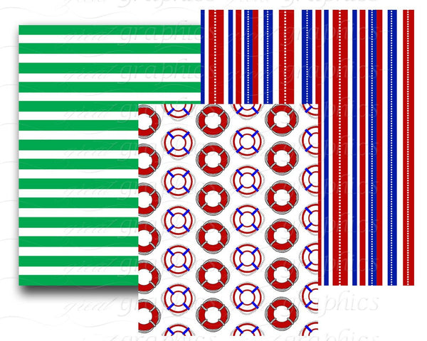 Nautical Paper Digital Nautical Digital Paper Nautical Digital Paper Nautical Flag Nautical Stripe - Instant Download