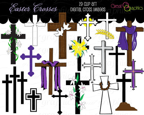 Cross Clip Art Cross Digital Clip Art, Clipart Cross Easter Cross Clipart Printable Easter Christian Cross Instant Download