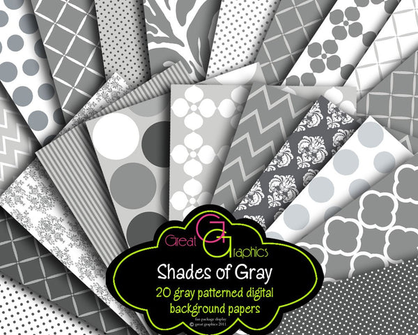 Gray Digital Paper Gray Chevron Gray Zebra Digital Paper Gray Damask, Printable Paper Digital Paper -  Instant Download