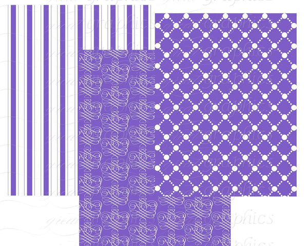Purple Paper Purple Digital Paper Purple Digital Scrapbook Paper Purple Damask Printable Background - Instant Download