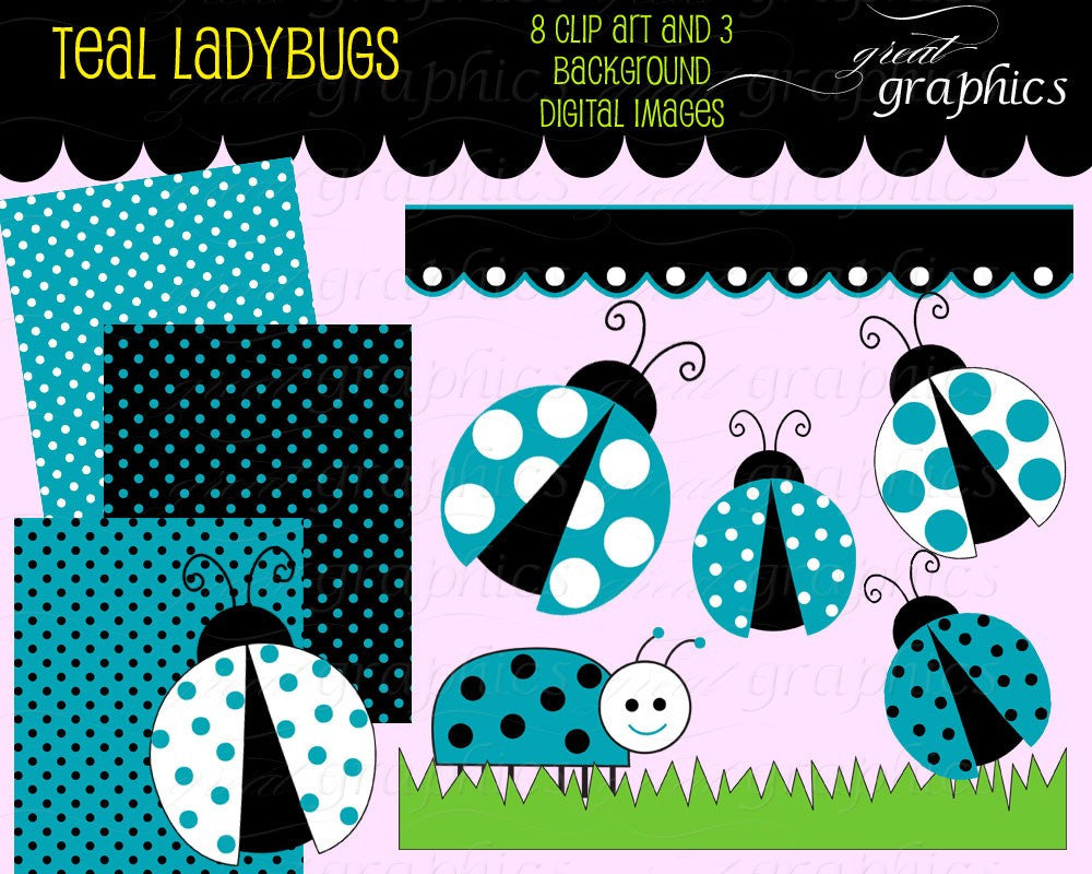 Lady Bug Clip Art Teal Ladybug Digital Clip Art Digital Paper Ladybug Clipart Printable Ladybug Party Paper - Instant Download