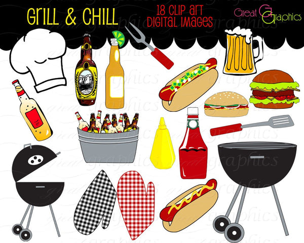 Party Clipart Backyard BBQ Clip Art Cooking Clipart Printable BBQ Grill Chef Clipart Beer Clip Art Digital Clip Art - Instant Download
