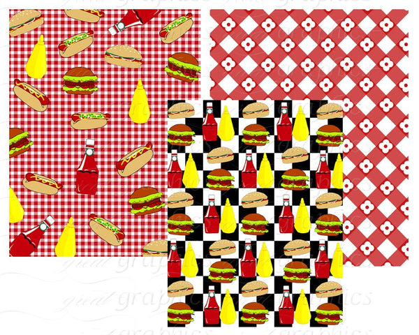 Invitation Digital Paper Backyard BBQ Party Paper Outdoor Party Printable Paper BBQ Grill Beer - Instant Download