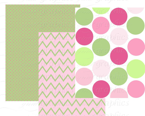 Pink and Green Digital Paper Printable Green and Pink Chevron Polka Dot Party Paper Preppy Printable Background - Instant Download