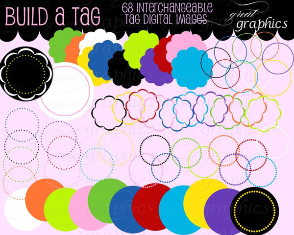 Circle Frame Dot Circle Clip Art Scallop Frame Clip Art Digital Circle Frame Digital Scallop Frame Invitation Clip Art - Instant Download