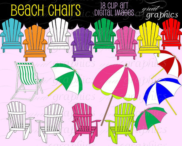 Beach Clip Art Digital Clipart Beach Chair Beach Party Printable Digital Clip Art Invitation Printable Clipart - Instant Download