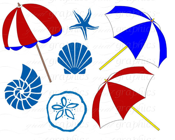 Beach Clip Art Beach Clipart Seashell Beach Umbrella Beach Chair Digital Clip Art Party Clipart Instant Download