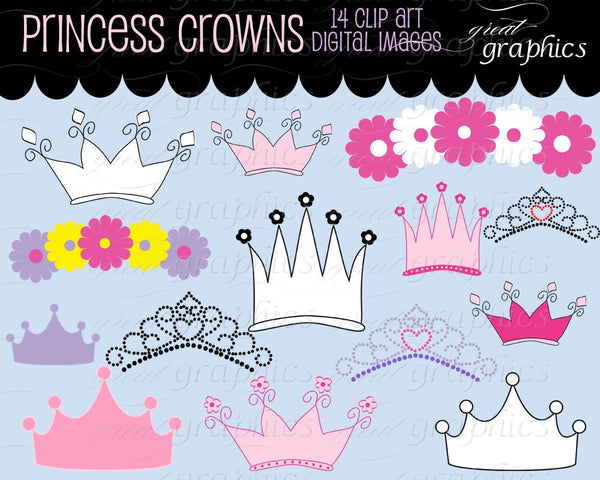 Princess Crown Clipart Princess Party Digital Clip Art Printable Princess Crown Digital Invitation Clip Art - Instant Download