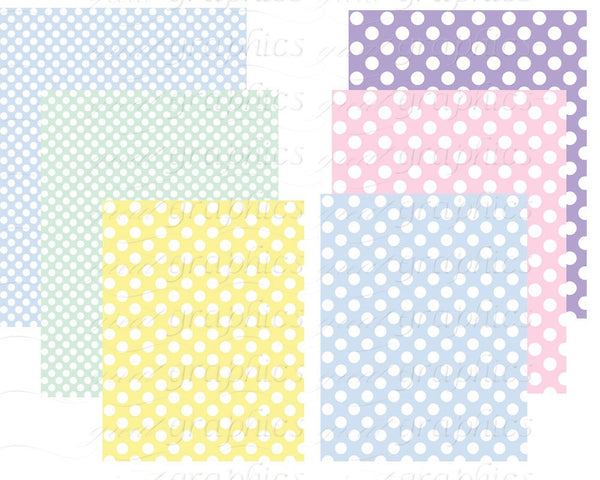 Polka Dot Digital Paper Printable Polka Dot Paper Baby Shower Paper Pastel Polka Dot Background Paper - Instant Download