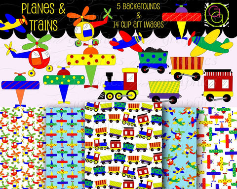 Airplane and Train Clip Art Digital Clipart Digital Paper Helicopter Clip Art  - Instant Download