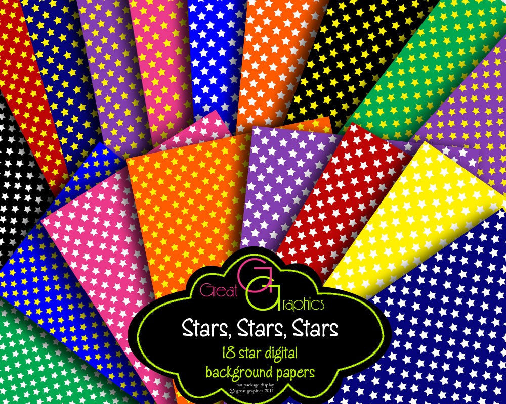 Star Digital Paper Digital Star Party Paper Invitation Printable Paper Star Background Paper - Instant Download