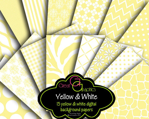 Yellow Paper Yellow Digital Paper Yellow Chevron Yellow Zebra Printable Paper Wedding Paper - Instant Download