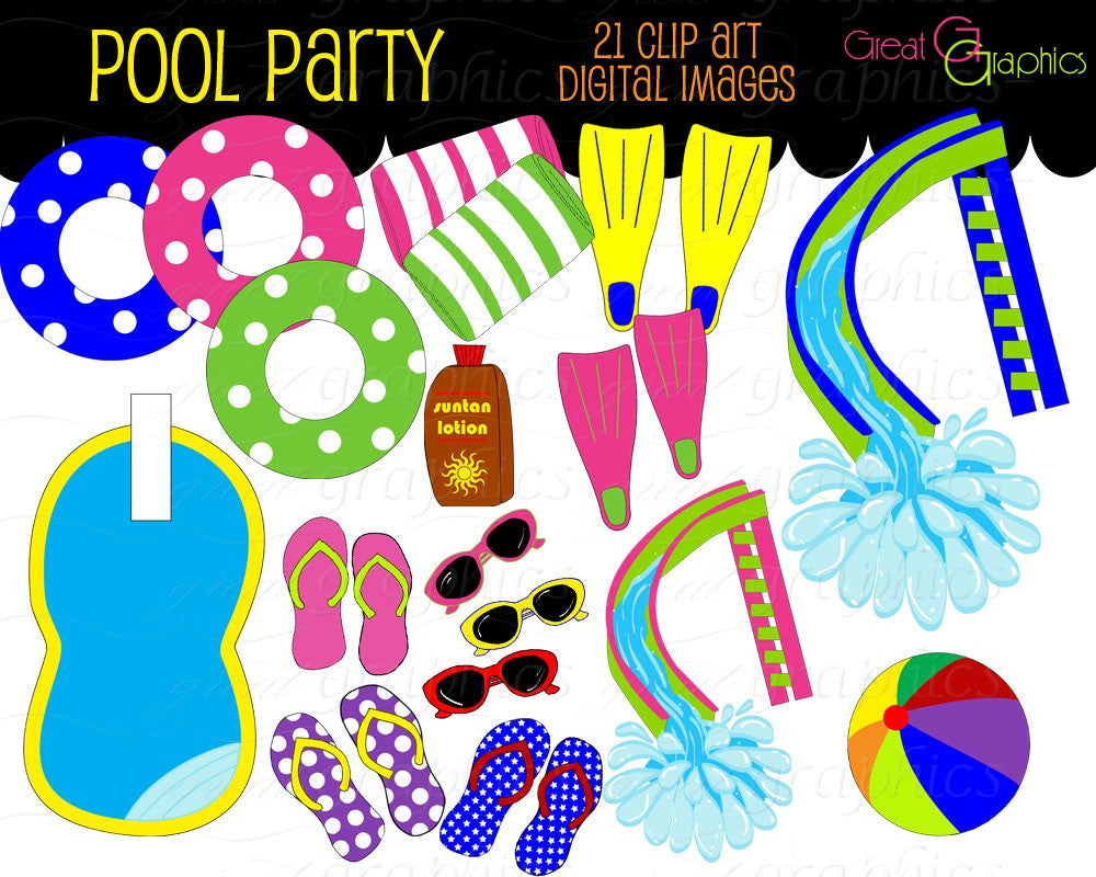 Pool Party Clip Art, Digital Pool Party, Digital Clip Art, Pool Party Clipart, Swimming Pool, Flip Flops, Instant Download