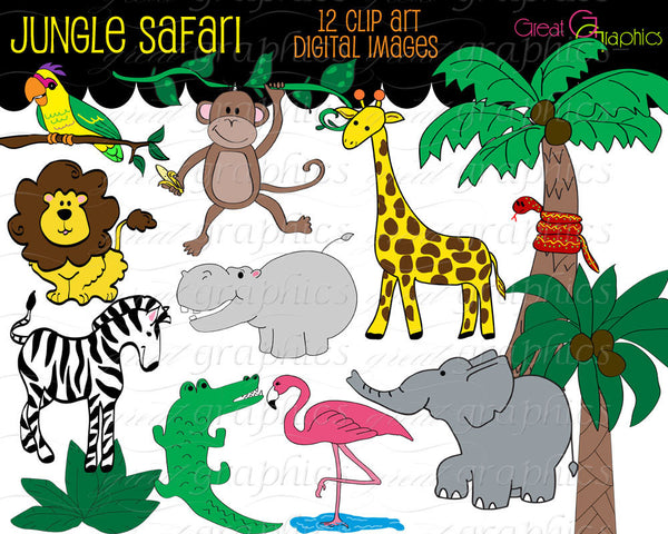 Jungle Animal Clip Art Digital Clipart Birthday Party Clipart Monkey Zebra Giraffe Elephant Safari Printable Clip Art - Instant Download