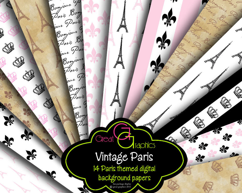Paris Paper Eiffel Tower Digital Paper Printable Paris Invitation Paper Paris Party Printable Paper - Instant Download, Digital Paper