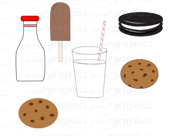 Ice Cream Clip Art Digital Clipart Milk and Cookie Party Clip Art Milk and Cookies Clipart Printable Invitation Clip Art - Instant Download