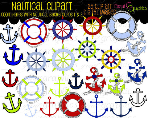 Nautical Clip Art, Nautical Digital, Anchor Clipart, Nautical Clipart, Digital Nautical, Sailing Clipart, Instant Download