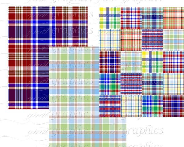 Printable Preppy Plaid Paper Preppy Digital Paper Printable Plaid Pattern Digital Party Paper for Invitations - Instant Download