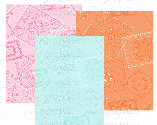Bandana Digital Paper Pink Bandana Paper Bandana Print Paper Party Paper Printable Paper - Instant Download