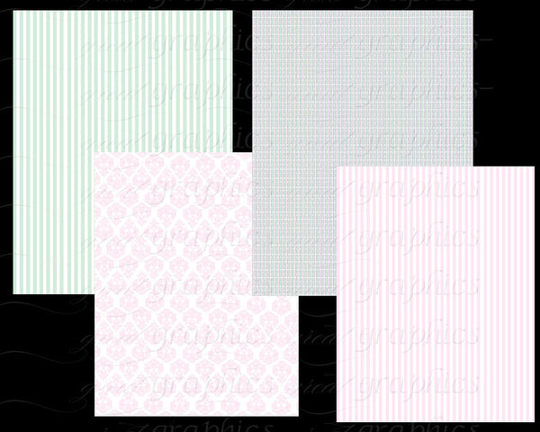 Pink Gray Green Digital Paper Background Wedding Paper Baby Shower Paper Digital Background Instant Download